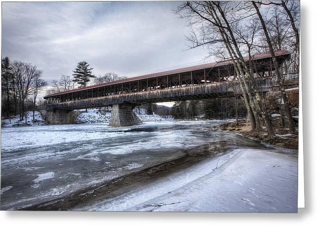 Saco River Bridge Greeting Card by Eric Gendron