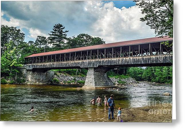 Greeting Card featuring the photograph Saco River Covered Bridge  by Debbie Green