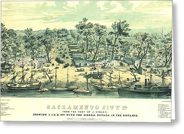 Sacramento California 1849 Greeting Card by Padre Art