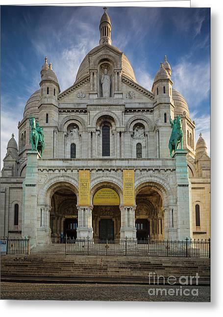 Sacre Coeur Entrance Greeting Card by Inge Johnsson