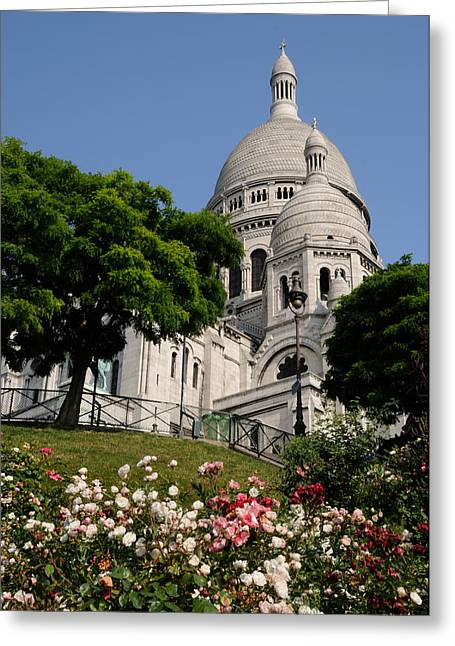 Sacre Coeur Flowers Greeting Card by Jeremy Voisey