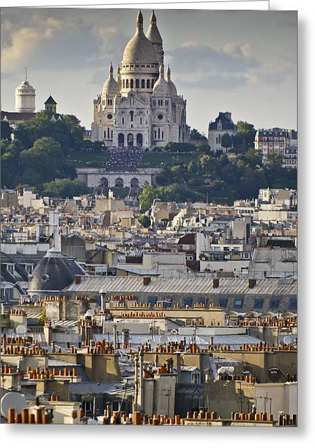 Sacre Coeur Over Rooftops Greeting Card by Gary Eason