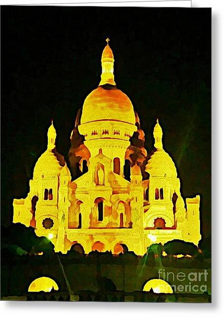 Sacre-coure Cathedral Paris  Greeting Card by John Malone