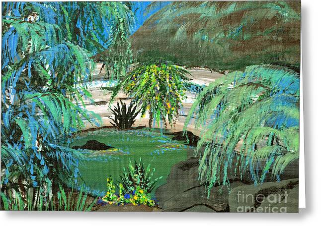 Greeting Card featuring the painting Sacred Cenote At Chichen Itza by Alys Caviness-Gober