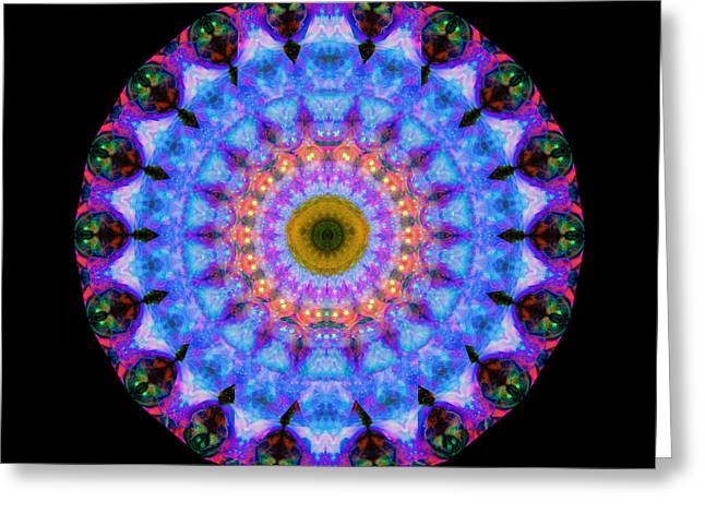 Sacred Crown - Mandala Art By Sharon Cummings Greeting Card