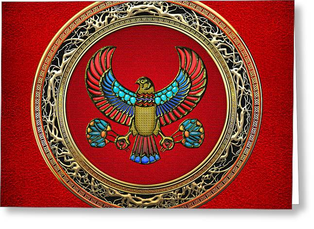 Sacred Egyptian Falcon Greeting Card by Serge Averbukh