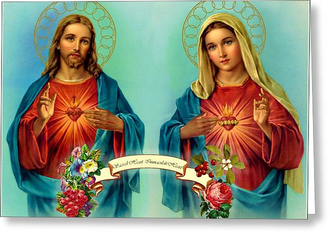 Sacred Heart Immaculate Heart  Greeting Card by Movie Poster Prints