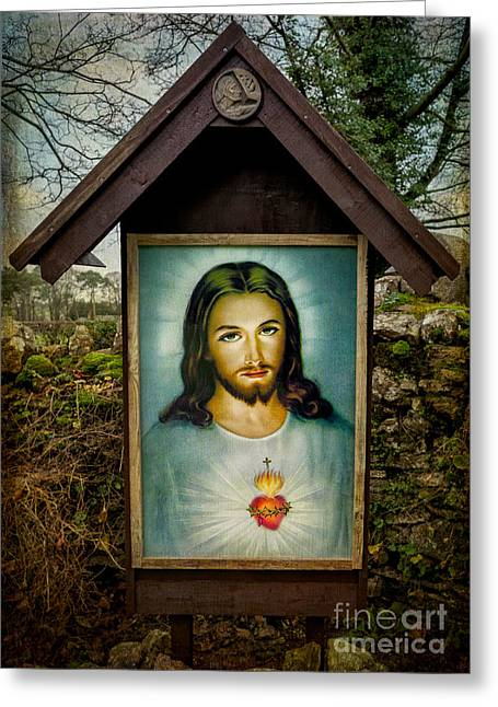 Sacred Heart Of Jesus Greeting Card by Adrian Evans