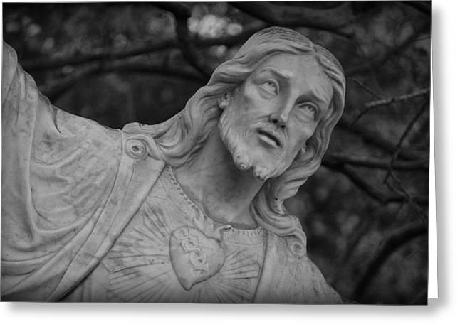 Sacred Heart Of Jesus - Bw Greeting Card