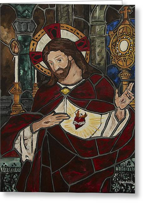 Sacred Heart Of Jesus Greeting Card by Greg Willits
