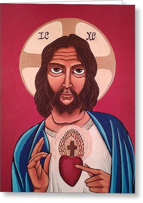 Sacred Heart Of Jesus Greeting Card by Susan Howard