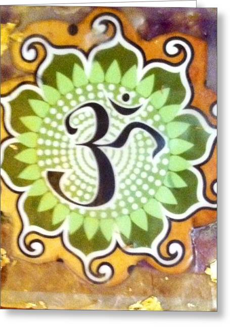 Greeting Card featuring the painting Sacred Om by MaryAnne Ardito