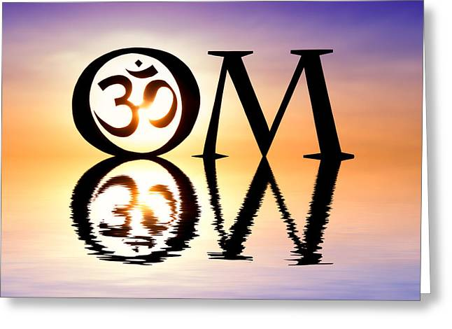 Sacred Om Greeting Card by Tim Gainey