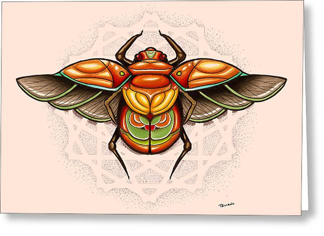 Sacred Scarab Greeting Card by Matt Truiano