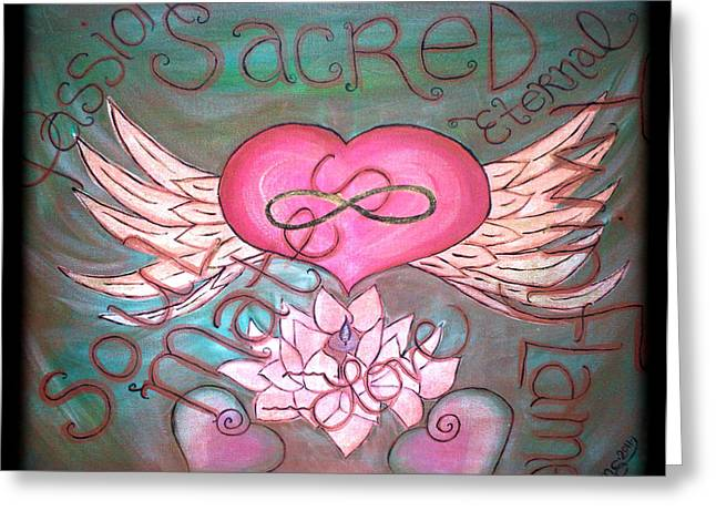 Sacred Soulmates And Twin Flames Greeting Card by Absinthe Art By Michelle LeAnn Scott