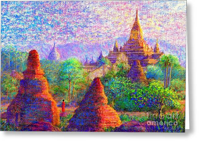 Greeting Card featuring the painting Bagan, Burma, Sacred Spires by Jane Small