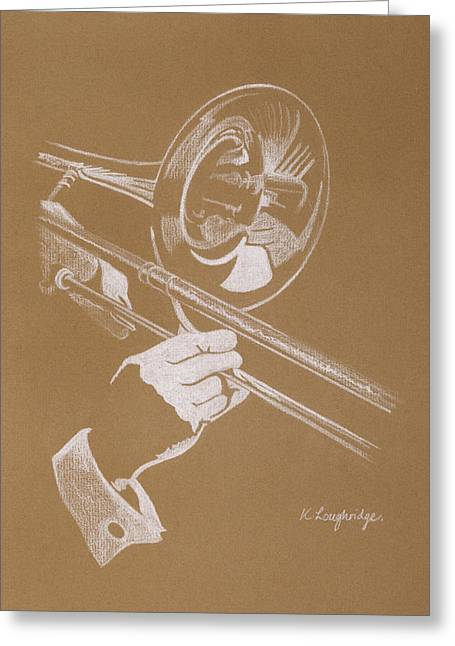 Sacred Trombone Greeting Card by Karen  Loughridge KLArt