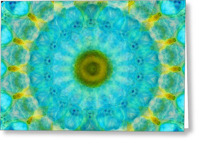 Sacred Voice - Mandala Art By Sharon Cummings Greeting Card