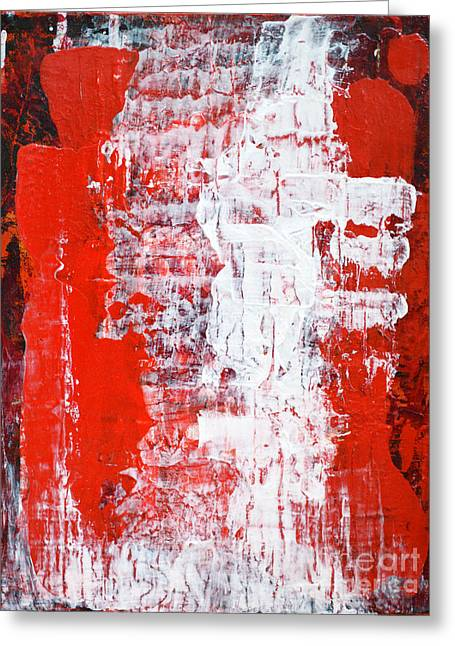 Sacrifice Red White Abstract By Chakramoon Greeting Card by Belinda Capol