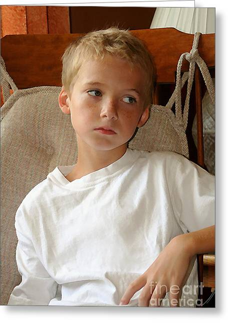 Sad Boy In Rocker Greeting Card
