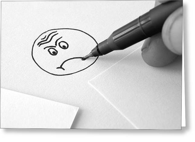 Sad Face Drawing  Greeting Card by Ioan Panaite