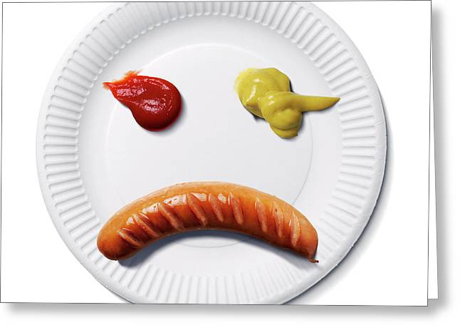 Sad Food Face Greeting Card by Smetek