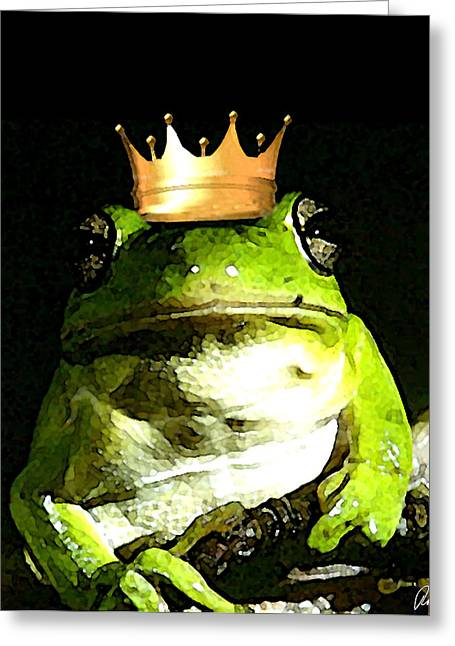 Sad Frog Prince - Digital Watercolor Print Greeting Card