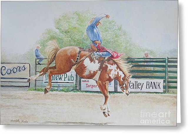 Saddle Bronc Greeting Card by Charlotte Yealey