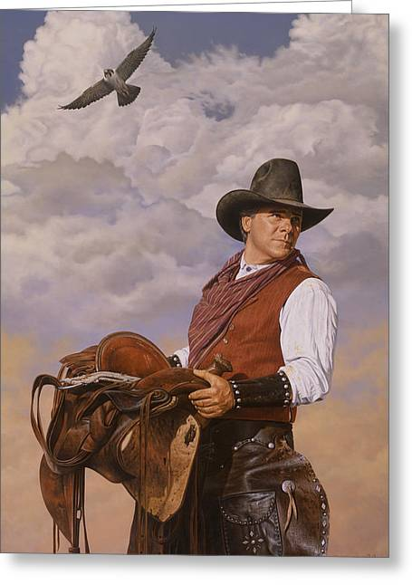 Greeting Card featuring the painting Saddle 'em Up by Ron Crabb