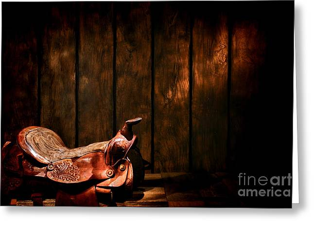 Saddle In The Corner Greeting Card by Olivier Le Queinec