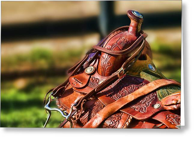Greeting Card featuring the photograph Saddle In Waiting Western Saddle Horse by Eleanor Abramson
