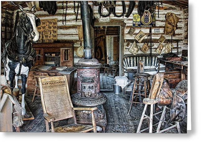 Saddlery Shop To The Frontier - Montana Territory Greeting Card