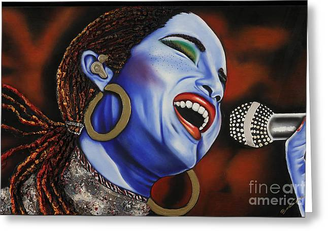 Sade In Concert Greeting Card by Nannette Harris