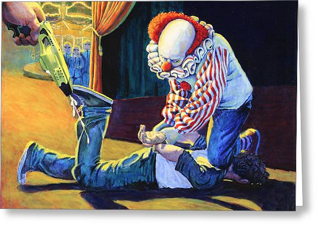 Sadistic Clowns Greeting Card by Mike Walrath