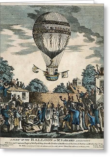Sadler's Royal Balloon Flight, 1811 Greeting Card by Science Photo Library