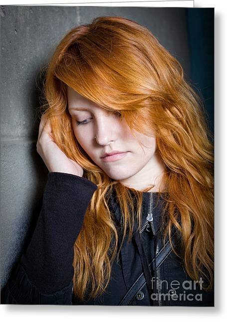Sadness - Moody Portrait Of A Redhead Girl. Greeting Card