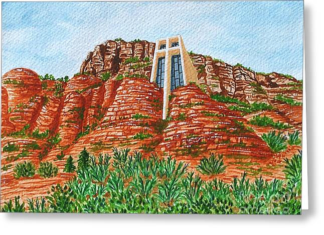 Greeting Card featuring the painting Sadona Church by Val Miller