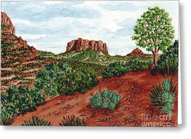 Greeting Card featuring the painting Sadona Two Mountains by Val Miller