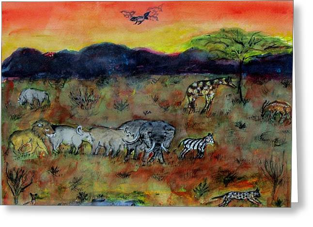 Safari In The Masia Mara Greeting Card