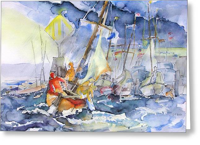 Safe And Sound Back At The Port Greeting Card by Barbara Pommerenke