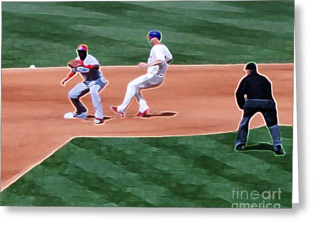 Safe At Second Base Greeting Card by Terry Weaver