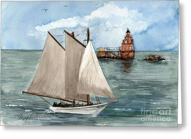 Greeting Card featuring the painting Safely Past The Shoal  by Nancy Patterson