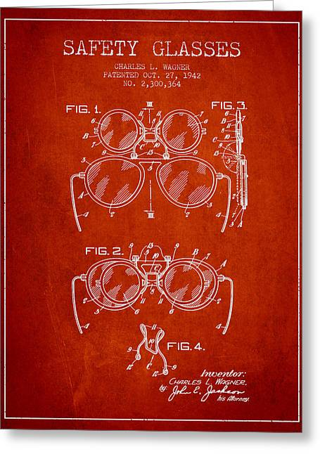 Safety Glasses Patent From 1942 - Red Greeting Card