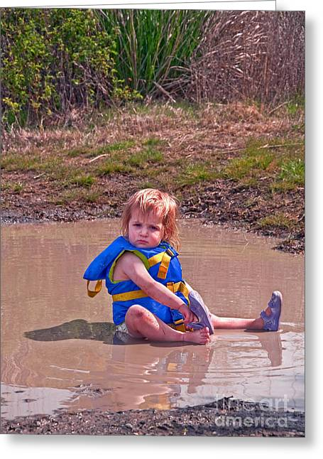Greeting Card featuring the photograph Safety Is Important - Toddler In Mudpuddle Art Prints by Valerie Garner