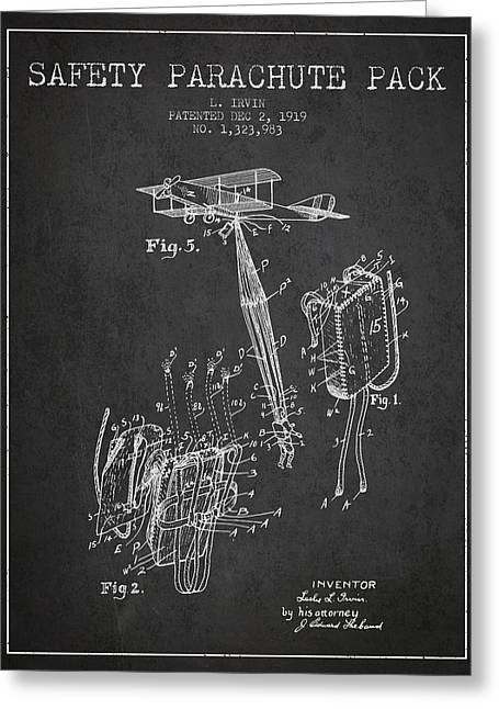 Safety Parachute Patent From 1919 - Charcoal Greeting Card