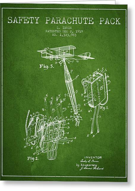 Safety Parachute Patent From 1919 - Green Greeting Card