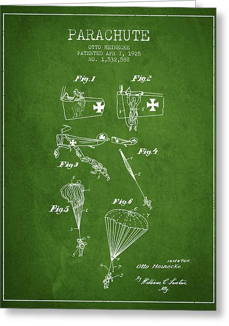 Safety Parachute Patent From 1925 - Green Greeting Card