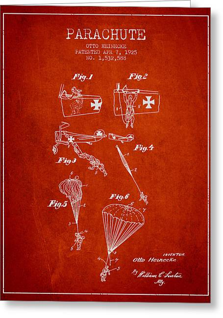 Safety Parachute Patent From 1925 - Red Greeting Card