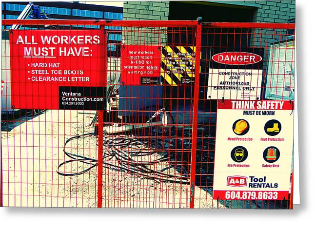 Greeting Card featuring the photograph Safety Signs by Laurie Tsemak