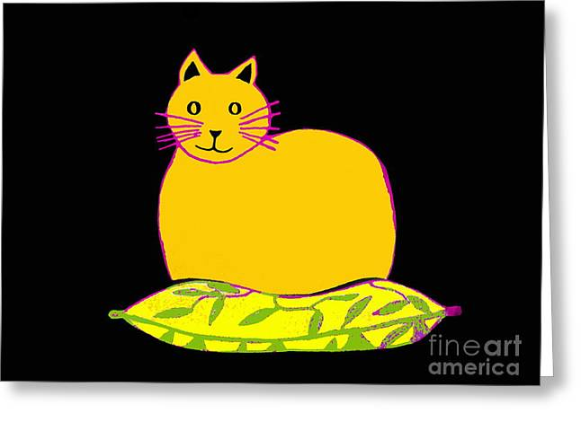 Saffron Cat On Black Greeting Card